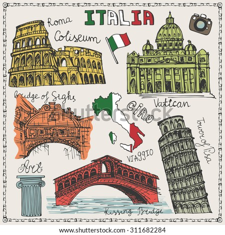 Italy famous landmark,lettering set.Vintage Hand drawn doodle art sketchy.Italian  travel,hello.Coliseum,Vatican,bridges of Venice,tower of Pisa.Travel background.Isolated colored Vector ,illustration