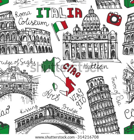 Italy famous landmark seamless pattern.Vintage Hand drawn doodle art sketchy.Italian  travel,hello.Coliseum,Vatican,bridges of Venice,tower of Pisa,map.Travel background.Linear Vector