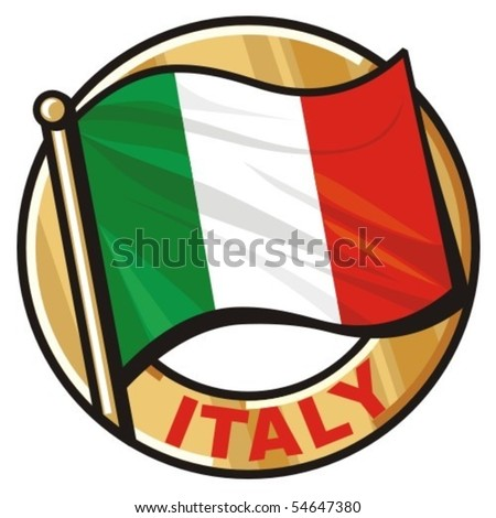 italy flag badge - stock vector