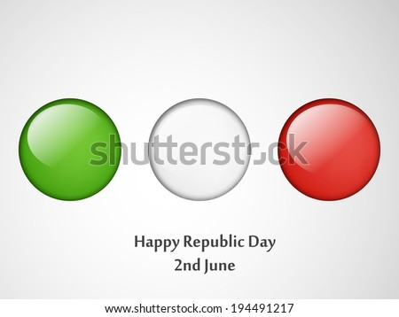 Italy Flag button or badge for Republic Day