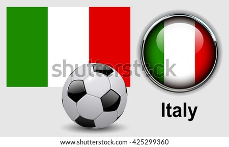 Italy flag icons with soccer ball, vector design. - stock vector
