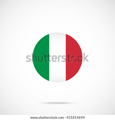Italy flag round icon. Italy flag icon with accurate official color scheme. Vector icon isolated on gradient background - stock vector