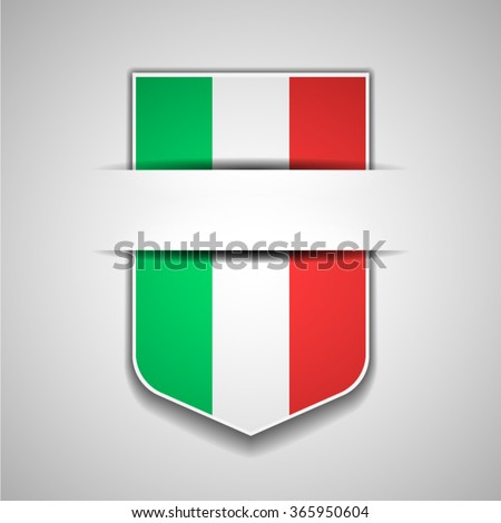 Italy flag shield sign - stock vector