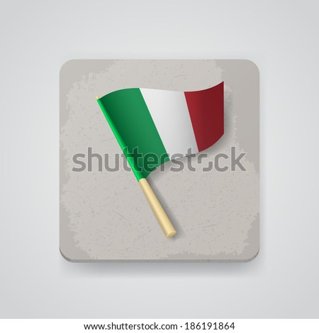 Italy flag, vector icon - stock vector