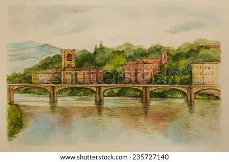 Italy, Florence, watercolor. Views of the river and city, vector illustration. - stock vector