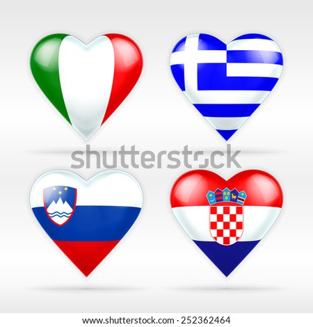 Italy, Greece, Slovenia and Croatia heart flag set of European states as collection of isolated vector state flags icon elements on white - stock vector