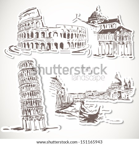 Italy  hand drawn landscape in vintage style