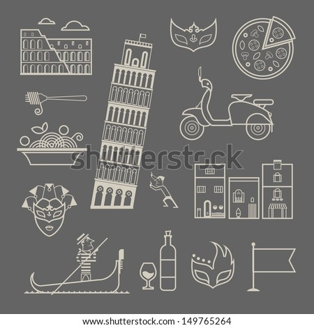 Italy icons - stock vector