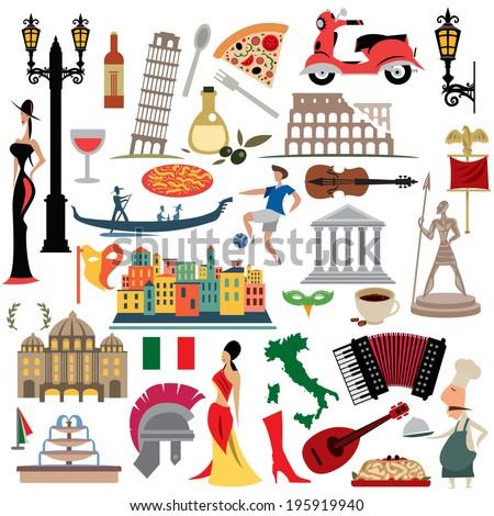 Italy Icons Collection, Illustration set,  Italian Flag (vector Art) - stock vector