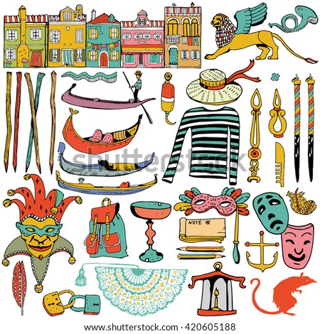 Italy Icons Collection. Island Burano. Venice. - stock vector
