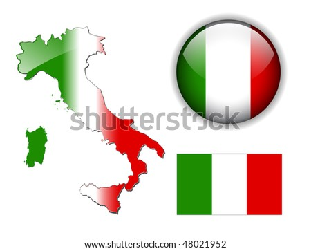 Italy, Italian flag, map and glossy button, vector illustration set. - stock vector