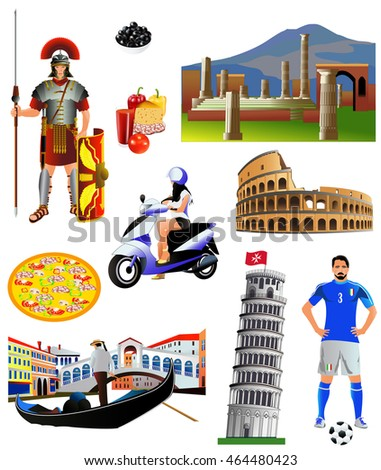 Italy landmarks and symbols, vector, color icon set. Isolated on white. The Colosseum. Tower of Pisa. Roman legionary. Cheese, pepper. Scooter. Vesuvius. Pompeii. Gondola in Venice. Football player