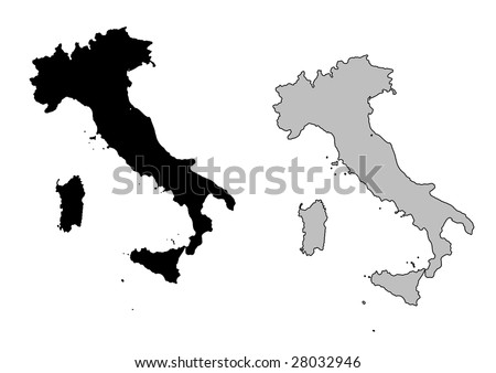 Italy map. Black and white. Mercator projection. - stock vector