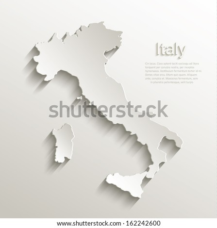 Italy map card paper 3D natural vector - stock vector