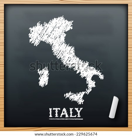 italy map chalkboard design effect in vector format - stock vector