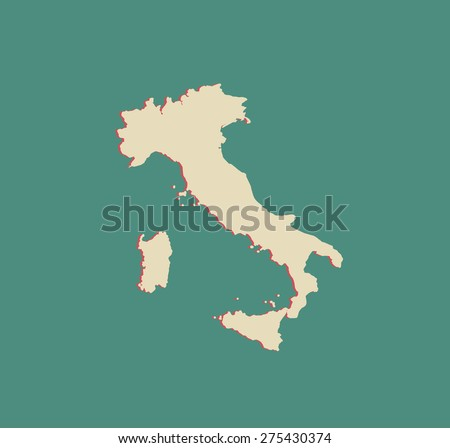 Italy map outlines in a 3D design or background, vector map of Italy in a three dimensional construction - stock vector