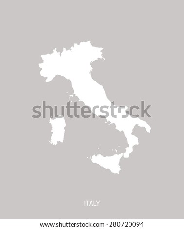 Italy map outlines in faded grey background, Italy map vector in contrasted light color design for brochure template, tourist map, advertisement, web page design, science and education uses - stock vector