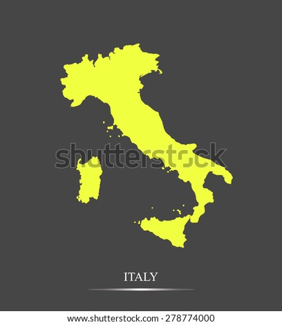 Italy map outlines in highlighted grey background, vector map of Italy in highly contrasted design - stock vector