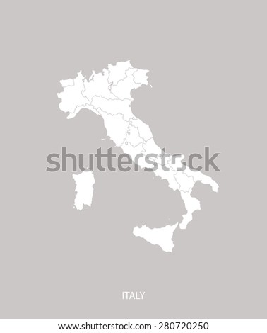 Italy map outlines with counties or provinces or states in faded grey background, Italy map vector for brochure template, tourist map, advertisement, web page design, science and education uses - stock vector