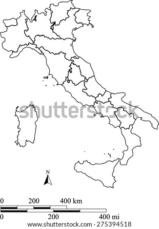 Italy map outlines with mileage and kilometer scales and boundaries/polygons of districts or provinces or states, vector map of Italy for science and publication uses - stock vector