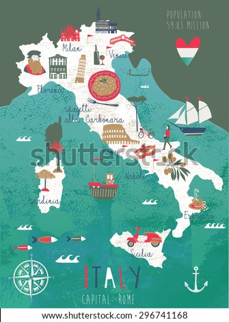 Italy Map Print Design - stock vector
