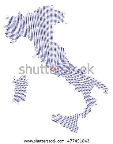 Italy Map Radial Dot Pattern Blue Stock Vector - Italy capital map