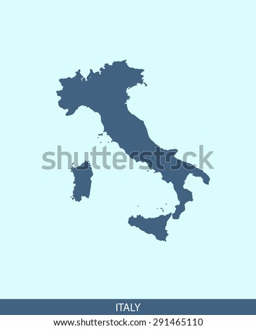 Italy map vector, Italy map outlines in a contrasted blue background for brochure and web-page templates and science & publication uses - stock vector