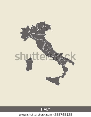Italy map vector, Italy map outlines in a contrasted grey background for brochure and web-page templates and science & publication uses - stock vector