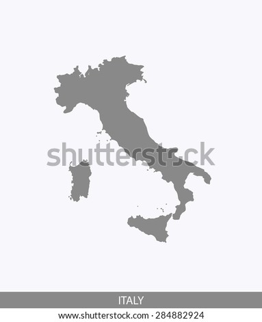 Italy map vector, Italy map outlines in contrasted grey background for brochure design and science and publication uses - stock vector