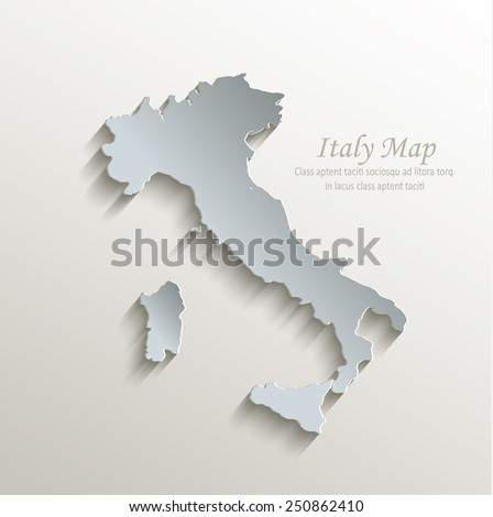 Italy map white blue card paper 3D vector - stock vector