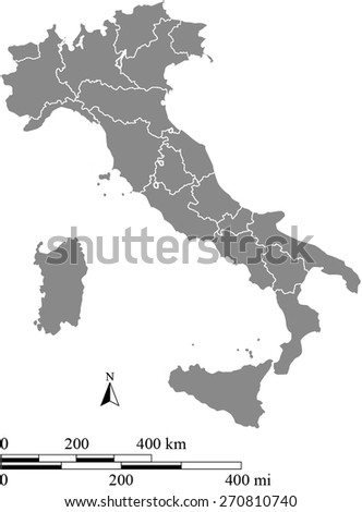 Italy map with scale, a grey color map of Italy with boundaries/ polygons of districts or provinces or states - stock vector