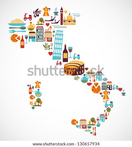 Italy map with vector icons - stock vector