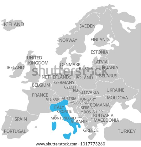 Italy marked by blue grey political stock vector 1017773260 italy marked by blue in grey political map of europe political map of the world gumiabroncs Image collections