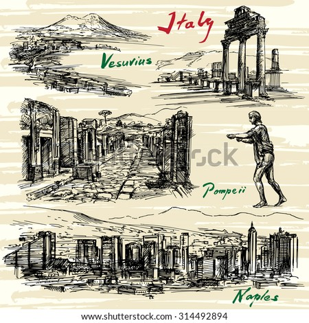 Italy- Naples, Pompeii - hand drawn set - stock vector