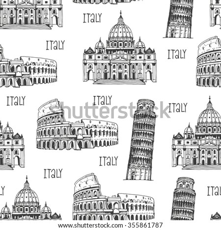 Italy pattern, seamless background with italian landmarks, hand drawn travel pattern