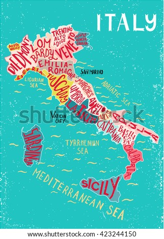 Italy regions map - unique decorative map with hand drawn lettering design. Concept for poster, wall decor, book cover. Illustration for apparel, card. Typography infographic poster. - stock vector