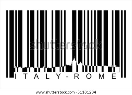 Italy Rome bar code Isolated over background and groups, vector ILLUSTRATION