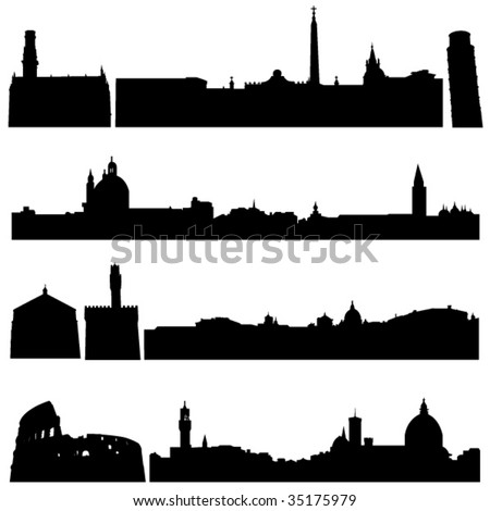 Italy's famous historical buildings and modern architecture. - stock vector