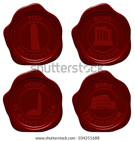 Italy sealing wax stamp set for design use. Vector illustration. - stock vector