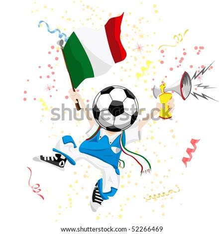 Italy Soccer Fan with Ball Head. Editable Vector Illustration - stock vector