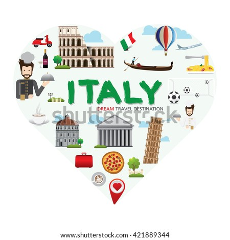 Italy symbols set in heart shape. Travel Destination Concept, Travel design templates collection, Info graphic elements for traveling to Italy, Heart shape concept. Travel background - stock vector