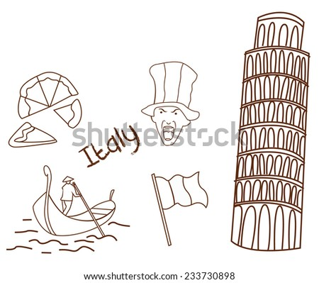 Italy tourism hand drawn Sketch Doodle - stock vector