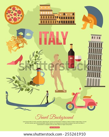 Italy travel background with place for text. Set of colorful flat icons, Italy symbols for your design. Vector illustration. - stock vector