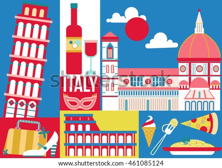 Italy Travel Concept Design Poster Home Stock Vector 461085124