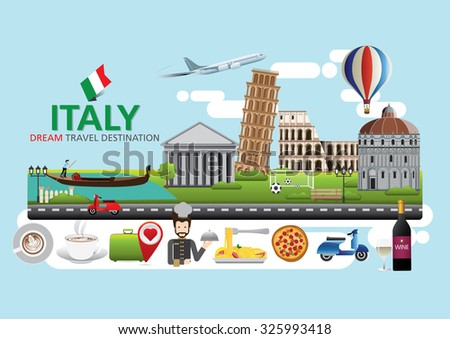 Italy Travel destination concept, Travel design templates collection, Info graphic elements for traveling to Italy.  - stock vector