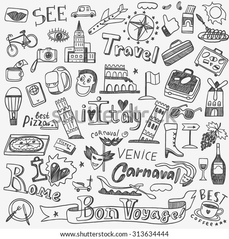 Italy travel doodles icons  - stock vector