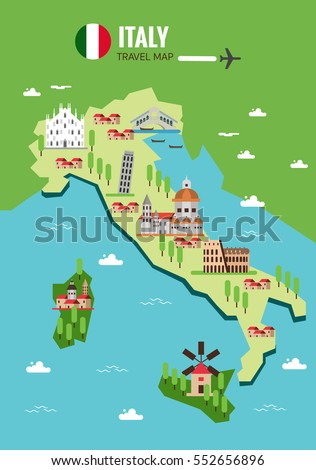 Italy Travel Map Italian Colosseum Milan Stock Vector 552656896