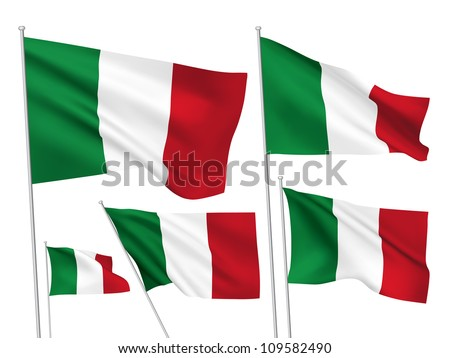 Italy vector flags. A set of 5 wavy 3D flags created using gradient meshes. - stock vector