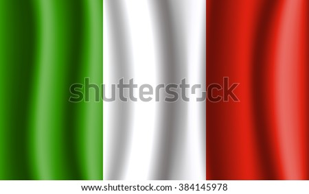 Italy vector flags. 3D flags created using gradient meshes