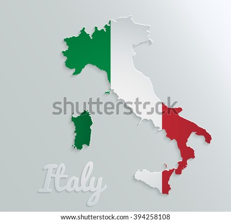 Italy vector map with flag - stock vector